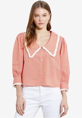 Trendyol orange Oversized Collar Printed Blouse A6D24AAE9E0027GS_1