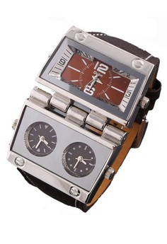 OULM Multi Dial Time Zone Luxury Leather Sport Quartz Watch - Brown