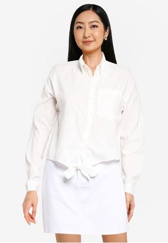 ONLY white Martha Tie Shirt 5A290AAB648DA6GS_1
