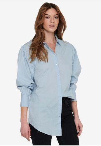 JACQUELINE DE YONG blue Cameron Life Long Sleeve Oversized Shirt 74F80AAF5A61D1GS_1