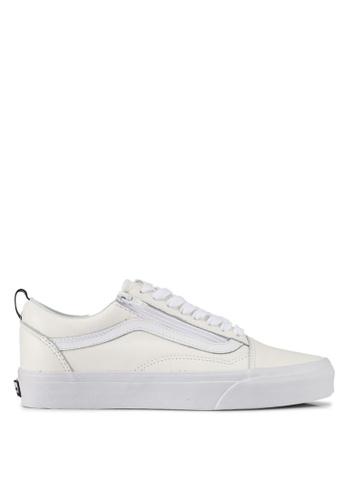 VANS white Old School Zip Leather Sneakers VA142SH0SWS7MY_1