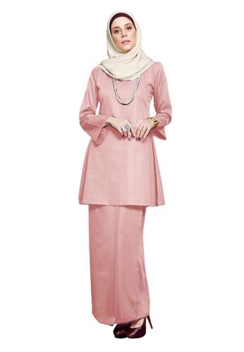 Inhanna pink GULINEAR Kurung Riau Dusty Pink 98442AAE6A43BFGS_1