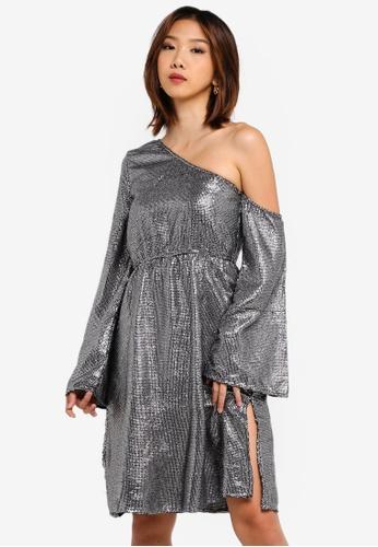 dce09d8a2cd Shop NA-KD One Shoulder Asymmetric Sequin Dress Online on ZALORA Philippines