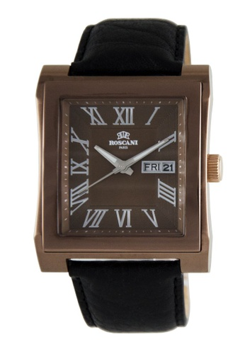 Roscani brown Roscani Davis 913 (Sunray Dial + WR 5ATM) Brown Leather Men Watch 5035AAC802A04BGS_1