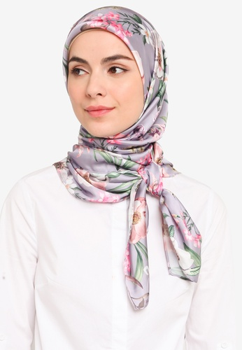 Hijabii grey Orked Square Scarf in Grey 9215EACB837BE6GS_1