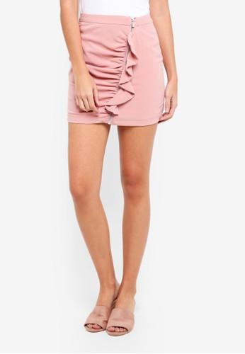 ZALORA pink Zip Front Skirt with Ruffles 153D0AABBF27E9GS_1