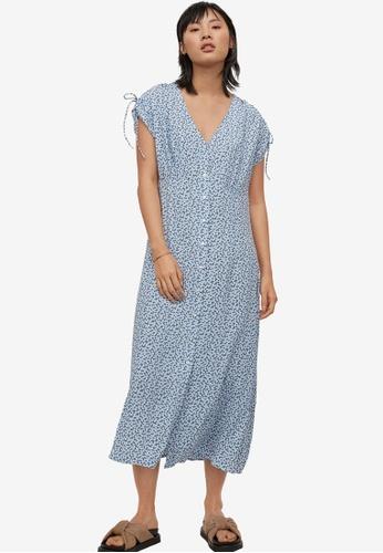 H&M blue and multi Calf-Length Dress 1600BAAE2CE995GS_1