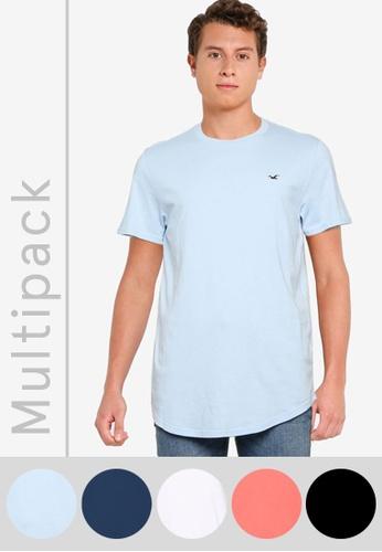 Hollister multi Multipack Classic Curved Hem T-Shirt E305DAA0086350GS_1