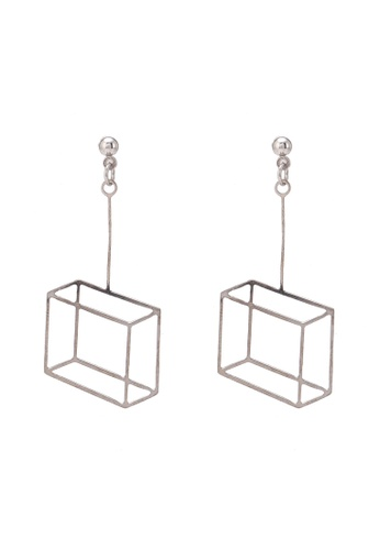 Saturation silver 3D Square Drop Earrings SA407AC0S7PNMY_1