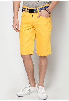 Low Rise Two Tone Shorts with Belt