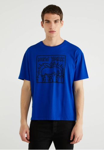 """United Colors of Benetton blue """"Keith Haring"""" Printed T-shirt BEC30AACEDD394GS_1"""