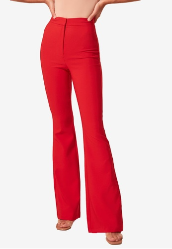 Trendyol red High Waist Flare Trousers 691E5AA98BF84DGS_1
