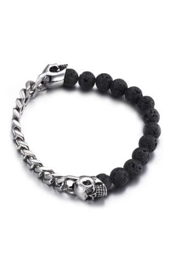 HAPPY FRIDAYS Skull Head Volcanic Stone Bracelet KL63697 FF054AC507962AGS_1
