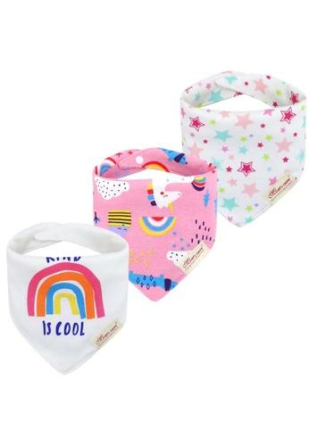 Little Kooma white and pink Baby Girl Unicorn Rainbow Star Dribbler Bibs 3 Pack 272D8KCFCB4419GS_1