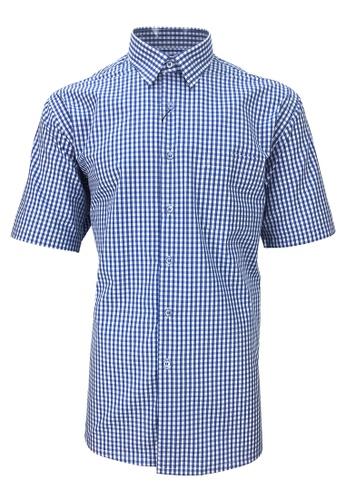 Pacolino blue Pacolino - Checker Formal Casual Short Sleeve Men Shirt 9F47FAA6E3A497GS_1