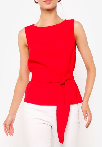 ZALORA WORK red Basic Shell Top With Belt 3E598AA674007AGS_1