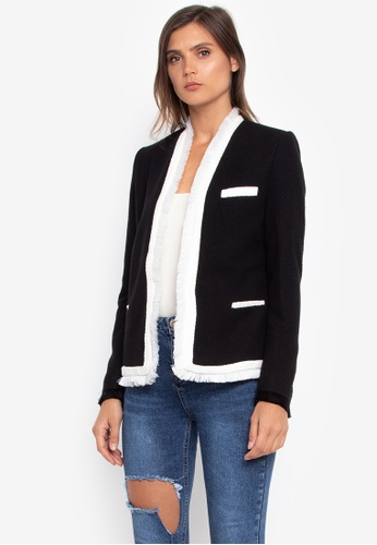NOBASIC black Black and White Fringed Blazer NO444AA0GR8VSG_1