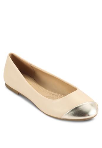 Pliesprit 內衣ssee 金屬感鞋頭拼接平底鞋, 女鞋, 鞋