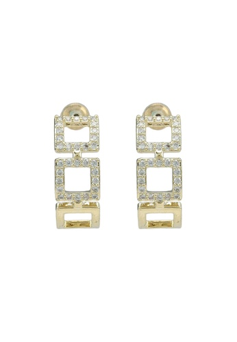 Red's Revenge gold 14K Gold Plated Chic Squares Hoop Earrings FB0A7AC524C9D1GS_1