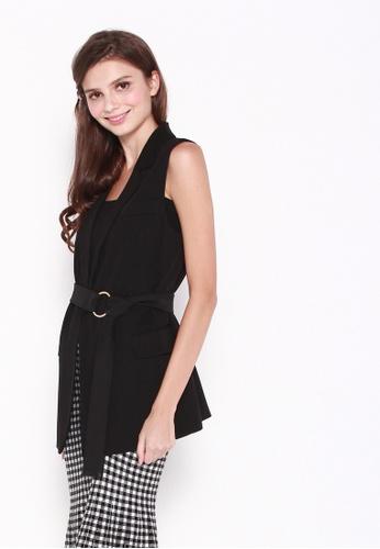 JOVET black Jacelyn Vest With Ring Belt B759CAAFC792AEGS_1