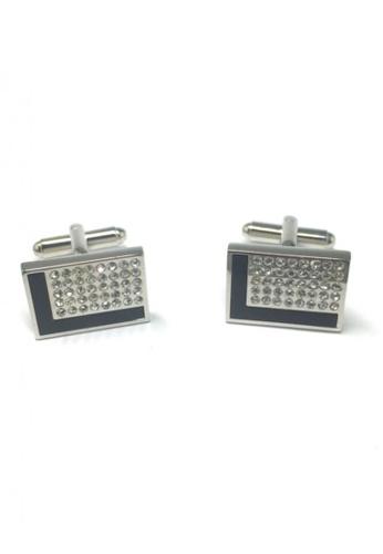 Splice Cufflinks black and silver Black L Design and Crystals Rectangular Cufflinks SP744AC23FSUSG_1