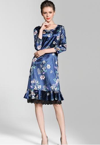 NBRAND blue 3/4 Length Sleeve Lace Stitching Fishtail Dress NB356AA0GC5GSG_1