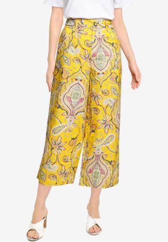 Desigual yellow Cropped Paisley Culotte Trousers CF3D5AA60AA4E9GS_1