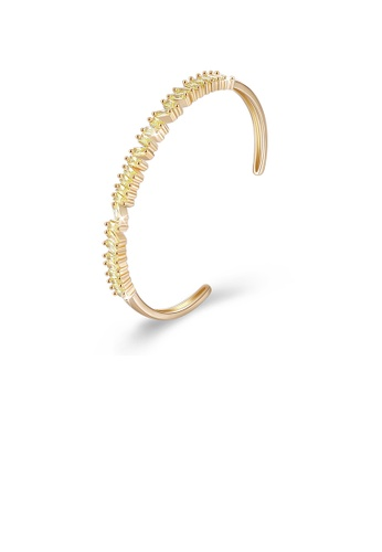 Glamorousky yellow Fashion Plated Champagne Gold Open Bangle with Yellow Cubic Zircon 5B41FAC66F3FBFGS_1