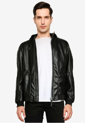 Springfield black Faux Leather Jacket With Hood 71647AA08643D5GS_1