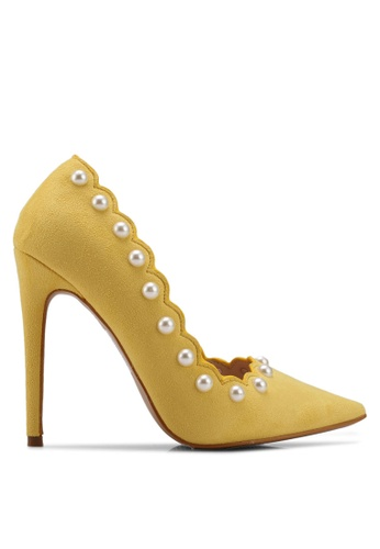 Velvet yellow Pearl Scallop Detailed Heels 3F9E5SH915F3F3GS_1