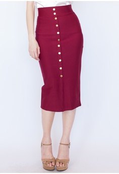4d42ec11a62 Hook Clothing red Button Front Midi Pencil Skirt 4F7F1AA014141AGS 1