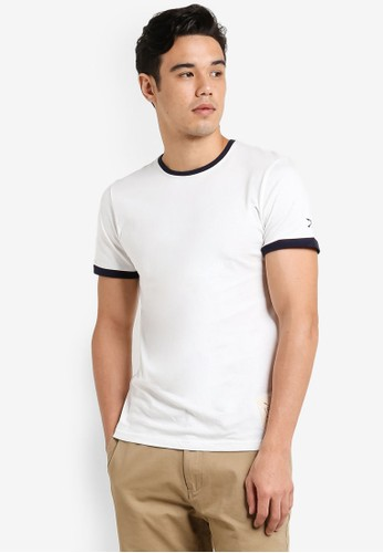 JAXON white Colourblock Crew Neck Tee B3DFCAA3D3F8B7GS_1