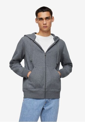 MANGO Man grey Zipper Cotton Sweater Hoodie 83EF4AA3E17D81GS_1