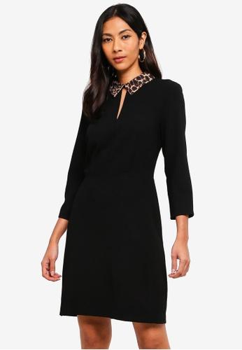 WAREHOUSE black Leopard Collar Dress A3294AA154CE35GS_1