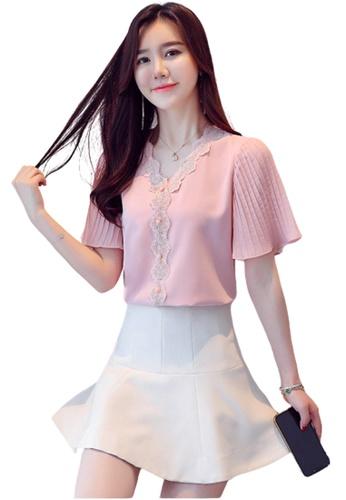 Halo pink V Neck Chiffon Blouse 61675AA2B12C2DGS_1