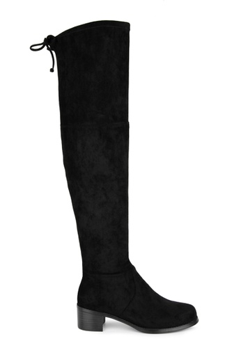 MAUD FRIZON black Stretch Faux Suede Over The Knee Boot With Draw String Detail 5987DSHEF9C4A0GS_1
