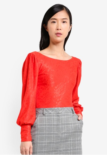 Miss Selfridge red Red Jacquard Top MI665AA0SS6NMY_1