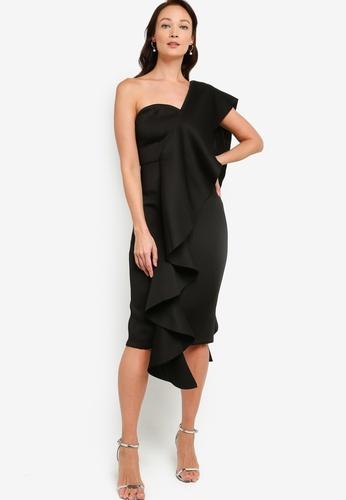 ZALORA OCCASION black Ruffle Toga Dress 06600AAFB31EABGS_1