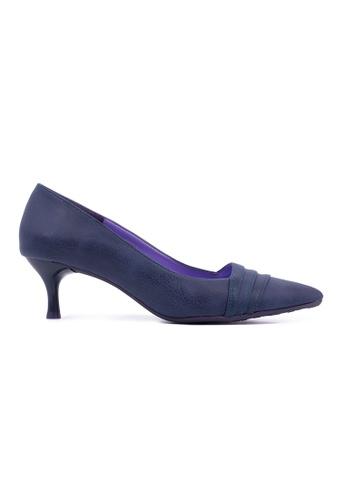 Flatss & Heelss by Rad Russel blue Pleated Front Classic Mid Heel- Navy FL655SH0GHBUSG_1