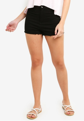 OVS black Stretch Cotton Fringed Shorts 2A4D1AA0F9BC1AGS_1