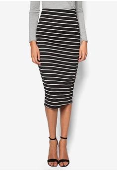 Petite Exclusive Stripe Longline Midi Skirt