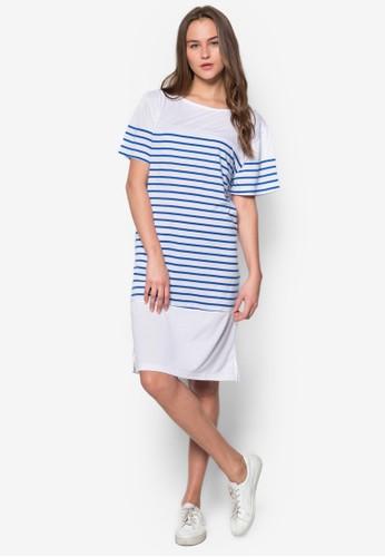zalora 衣服尺寸條紋直筒連身裙, 服飾, 服飾