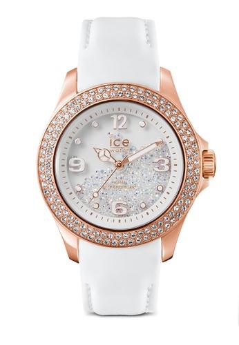 Ice Cresprit台灣網頁ystal 皮革晶鑽圓錶, 錶類, 奢華型