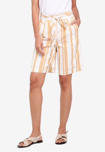 OVS white and yellow Belted Stripe Shorts E9F0DAAC6E909BGS_1