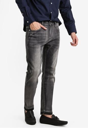 CR7 grey Type C Slim Straight Zip Pocket Slim Jeans CR532AA60EGHMY_1