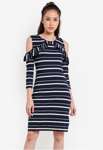 WAREHOUSE 藍色 Stripe Cold Shoulder Dress WA653AA79UPOMY_1