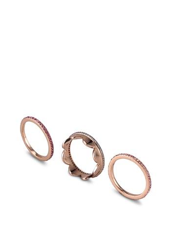 kate spade new york multi Slender Pave Band Ring Set (cv) 36AADAC1CEE5D5GS_1
