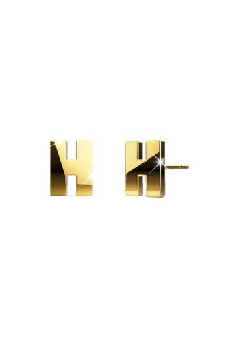 Bullion Gold gold BULLION GOLD Dainty Alphabet Letter Earring Gold Layered Steel Jewellery - H 22389ACC99192AGS_1
