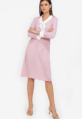 ZALORA WORK pink Contrast Collar Midi Dress 4472EAA3C93AA0GS_1