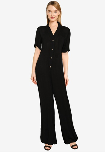 MISSGUIDED black Relaxed Short Sleeve Wide Leg Jumpsuit E5836AAA4874CCGS_1
